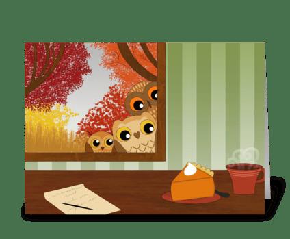 Autumn window owls greeting card