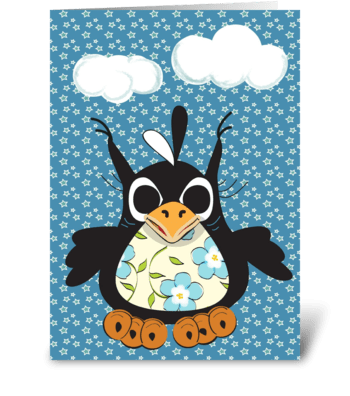 Penguin Under the Clouds  greeting card