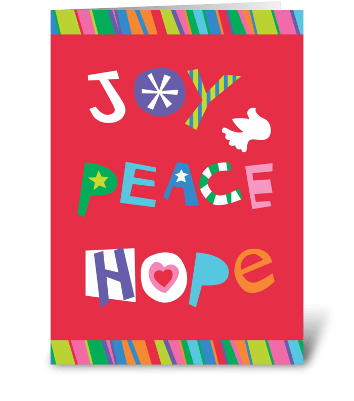 Joy, Peace, and Hope greeting card
