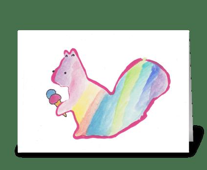 Squirrel & Ice Cream greeting card