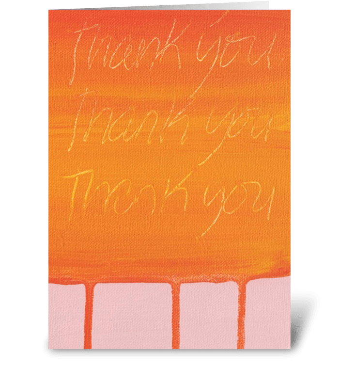 Thank You Painting - Orange on Pink greeting card