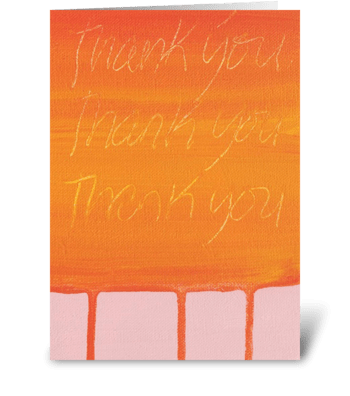 Thank You Painting - Orange on Pink greeting card