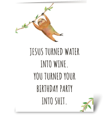Birthday Party Sloth greeting card