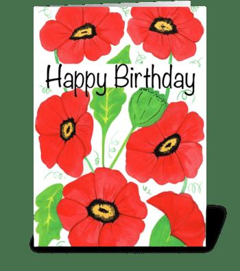 Red Poppy Birthday greeting card