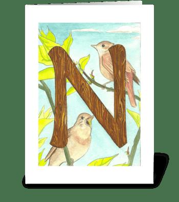 N for Nightingale greeting card