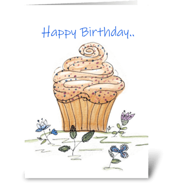Happy Birthday Cupcake Greeting Card greeting card