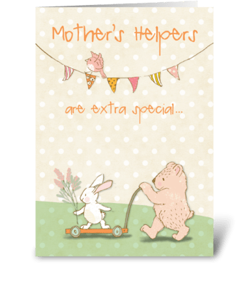 Mother's Helper Thanks Bear and Bunny greeting card