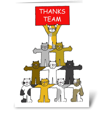 Thanks team, cartoon cats. greeting card