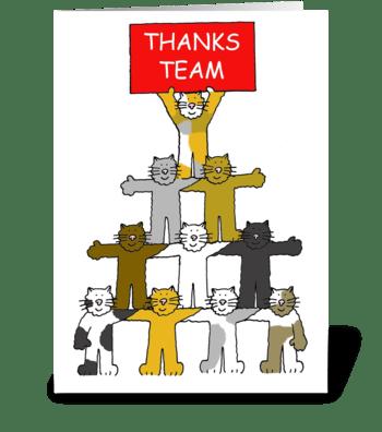 Thanks team, cartoon cats. greeting card