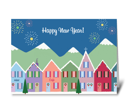 New Year's in the Mountains greeting card