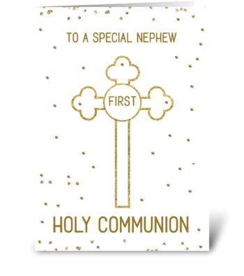 Nephew First Holy Communion Gold Look greeting card