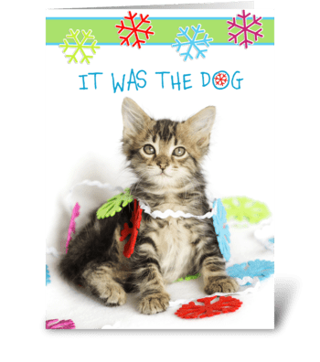 It was the Dog Says Christmas Kitty greeting card