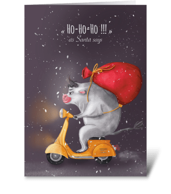 Bull delivery greeting card