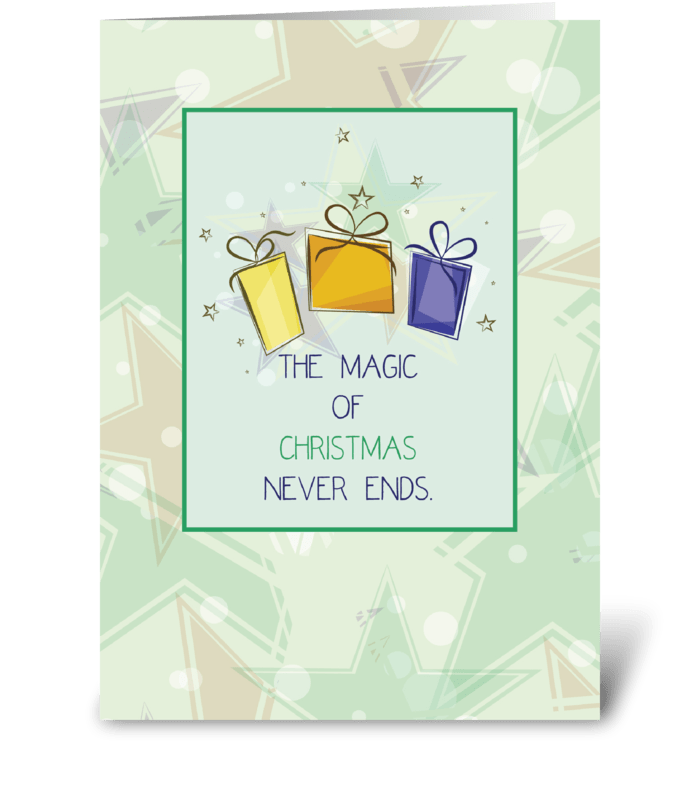 Christmas Presents with Stars greeting card