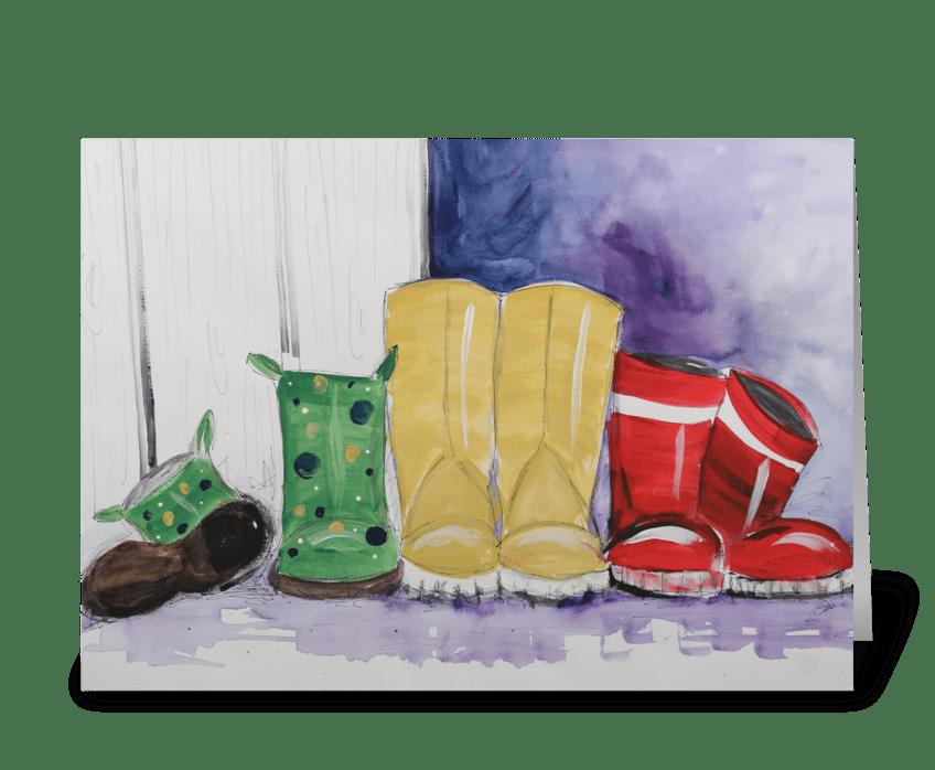 Rainboots greeting card