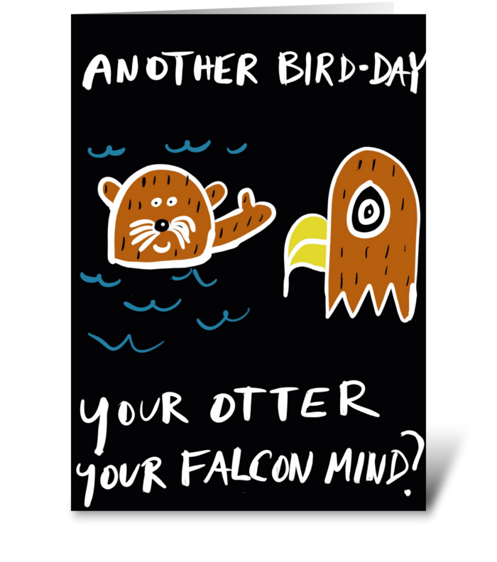 Otter Falcon Mind greeting card