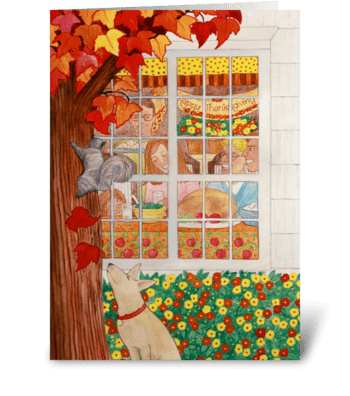 Happy Thanksgiving Fall Family Scene greeting card