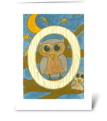 O for Owl greeting card
