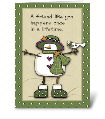 Snow Lady Best Friends Christmas greeting card