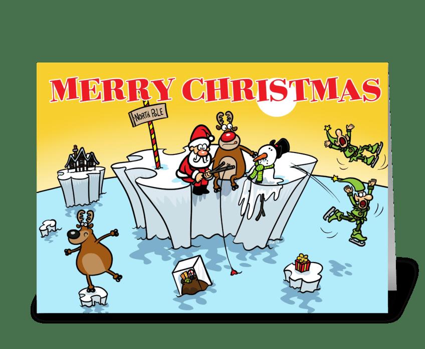 Global Warming Christmas greeting card