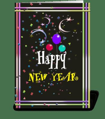 Happy New Year, Festive Art greeting card