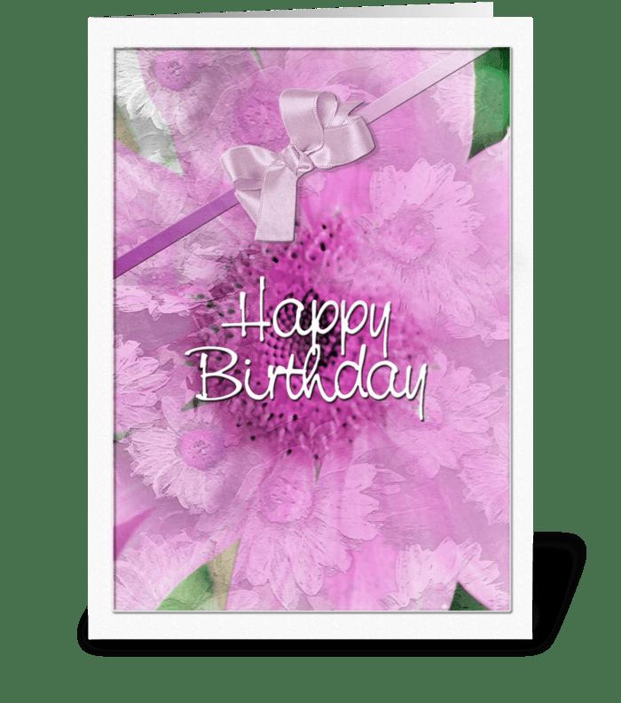 pink Daisy Design, Happy Birthday greeting card