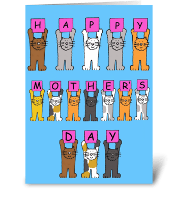 Cartoon cats Happy Mother's Day greeting card