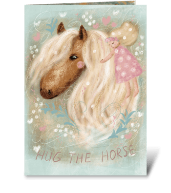 Romantic horse with flowers  greeting card