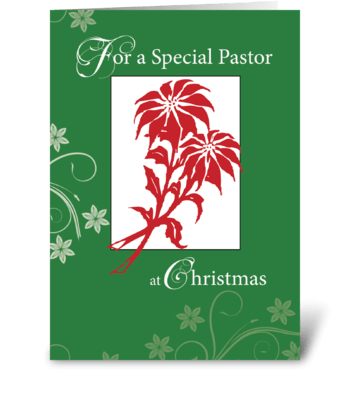 Pastor, Christmas Poinsettias greeting card