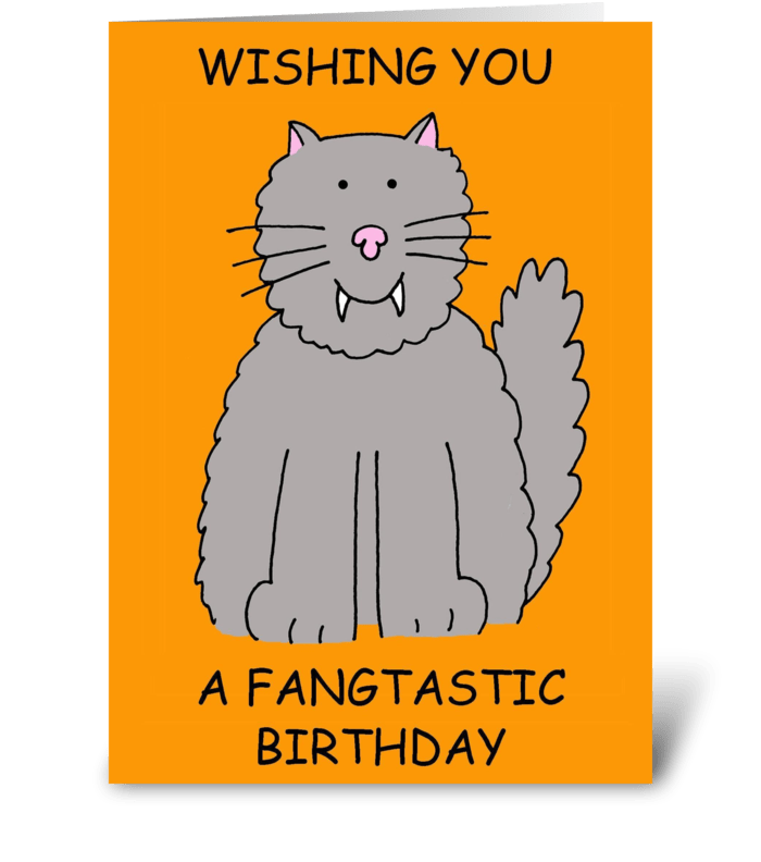 Halloween Birthday cat humor. greeting card