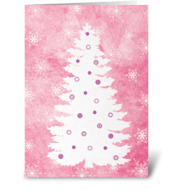 White Christmas tree greeting card