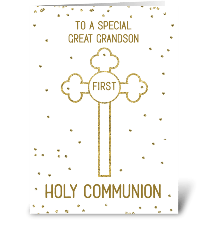Great Grandson First Holy Communion Gold greeting card