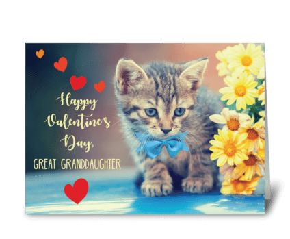 Great Granddaughter Love Valentine Kitte greeting card