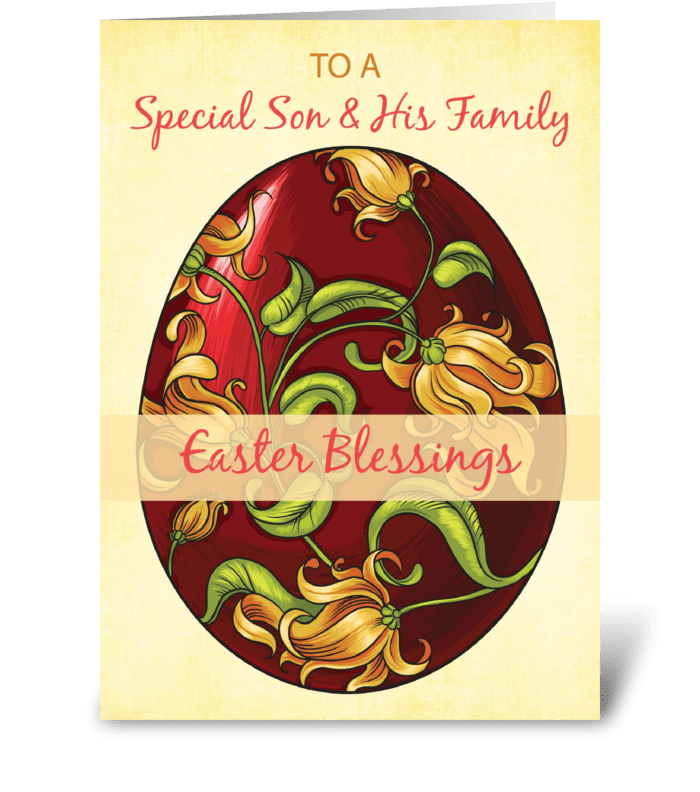 Son & His Family, Easter Blessings, Egg  greeting card