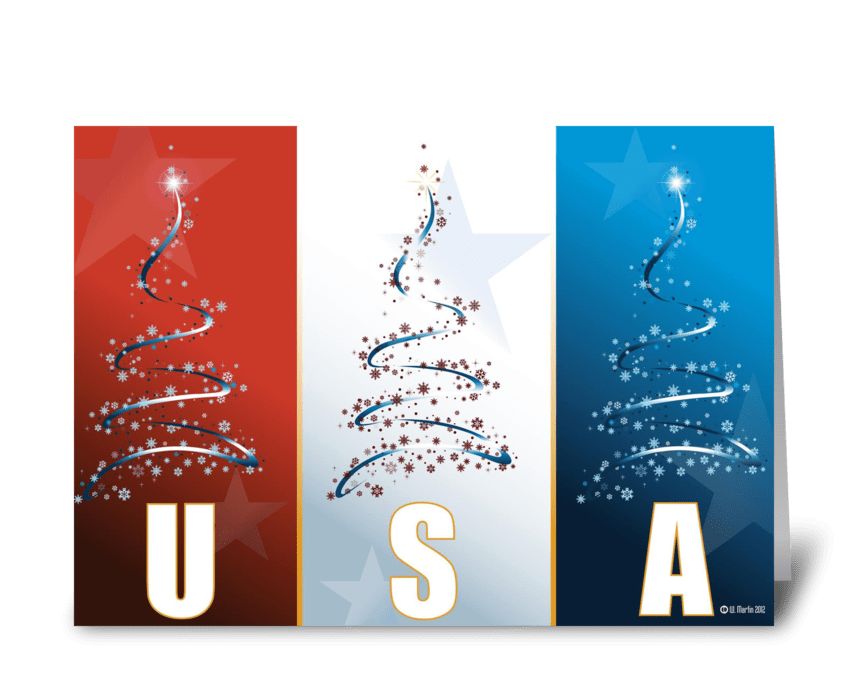 Red White Blue Patriotic Christmas Card greeting card
