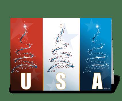 Christmas Card Design.Red White Blue Patriotic Christmas Card