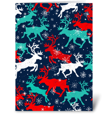 Festive Snow Caribou greeting card