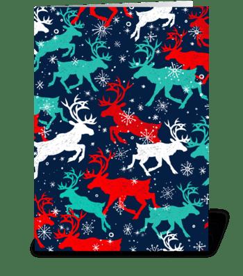 Festive Snow Caribou greeting card
