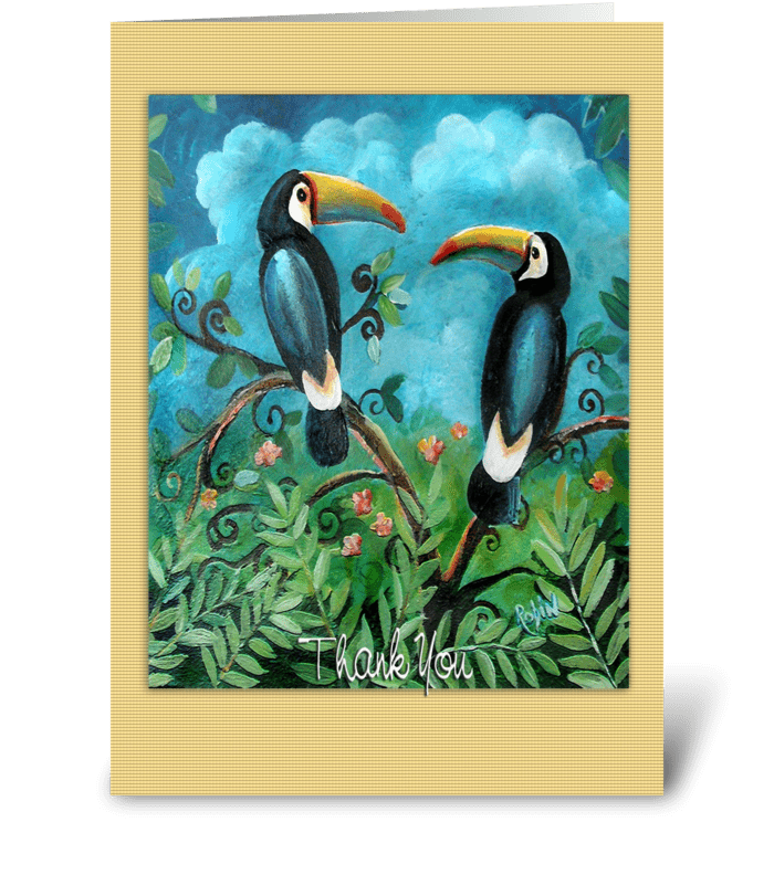 Thank you, Colorful Toucon Birds greeting card