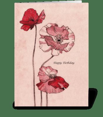 Birthday_drawing-poppy-flowers greeting card