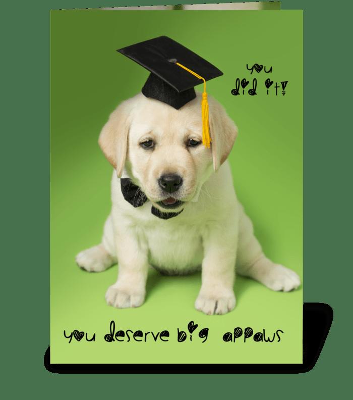 Big Appaws (applause) graduation dog  greeting card