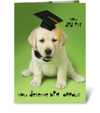Big Appaws (applause) graduation dog  greeting card