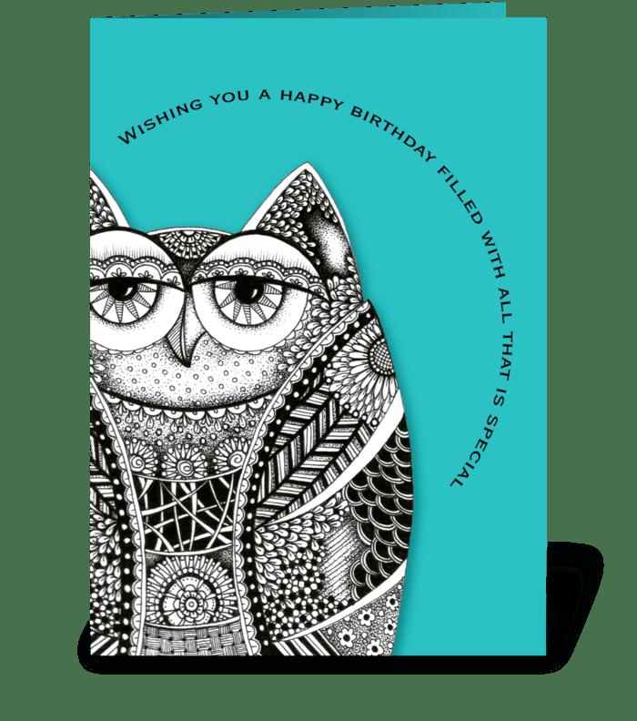 Happy Birthday Owl greeting card
