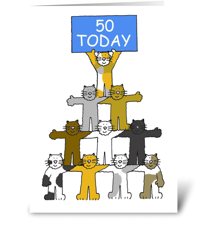 Happy 50th Birthday Fun Cats Greeting Card
