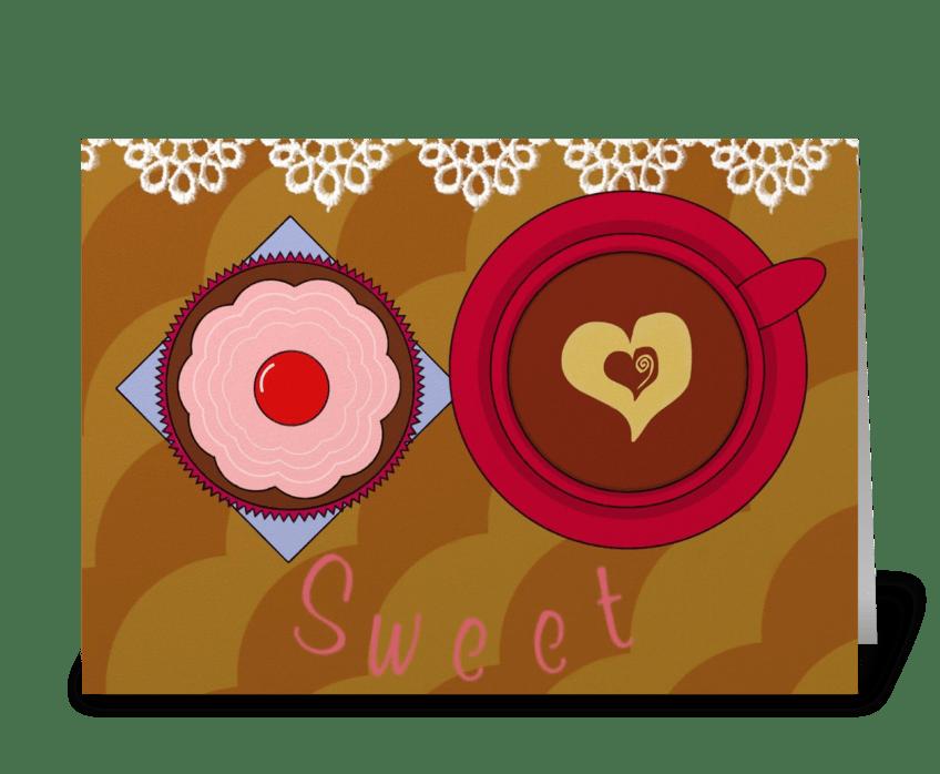 Cupcake & Coffee greeting card