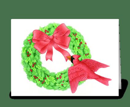 Cardinal and Wreath greeting card