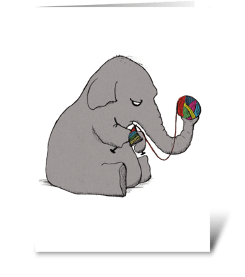 Elephant Knitting greeting card
