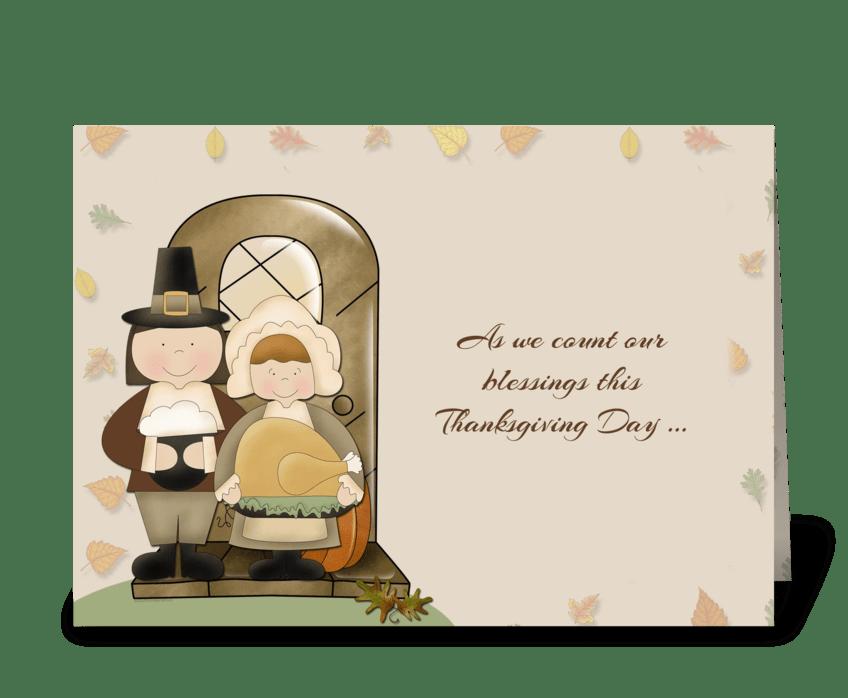 Pilgrims Thanksgiving greeting card
