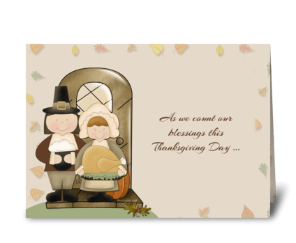 Pilgrims Thanksgiving greeting card