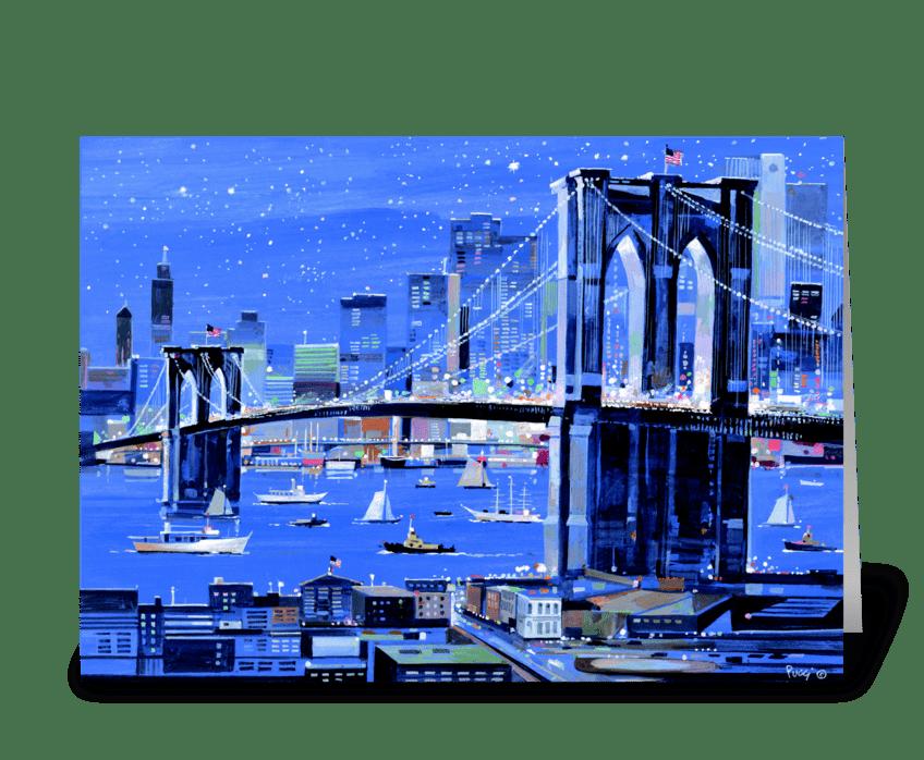 Brooklyn Bridge by Albert J. Pucci greeting card